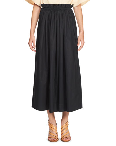 Gathered-Waist Cotton Maxi Skirt, Dark Blue