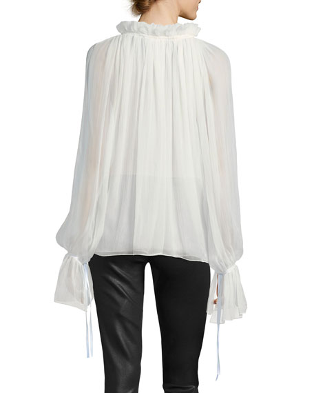 Redemption Silk Keyhole Bell-Sleeve Blouse