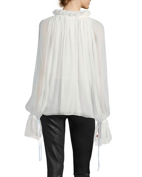 Silk Keyhole Bell-Sleeve Blouse