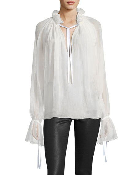 Redemption Silk Keyhole Bell-Sleeve Blouse and Matching Items