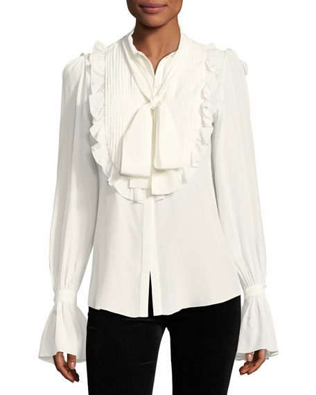 Ruffled Bell-Sleeve Silk Blouse