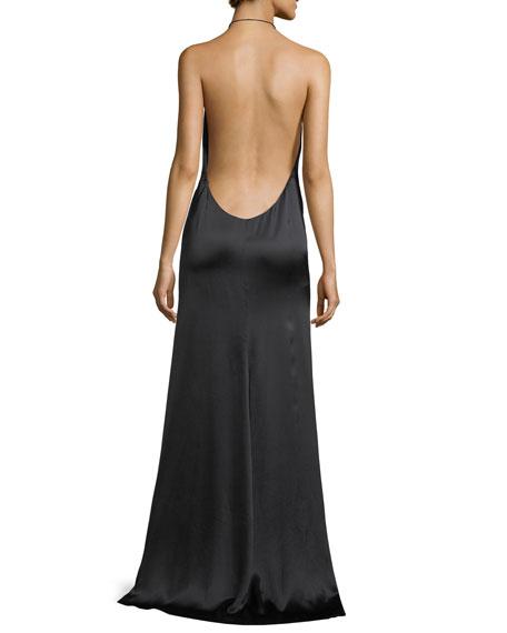 Plunging Satin Halter Slip Gown