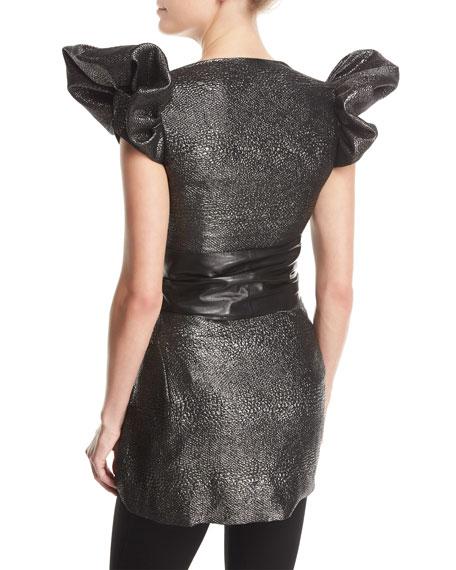 Metallic Puff-Sleeve Jacquard Dress
