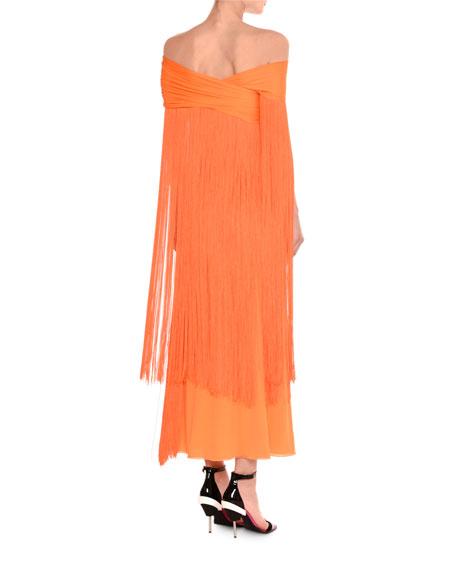 Off-the-Shoulder Draped Fringe Ankle-Length Gown