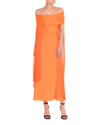 Off-the-Shoulder Draped Fringe Ankle-Length Gown
