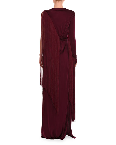 One-Sleeve Fringe Column Gown