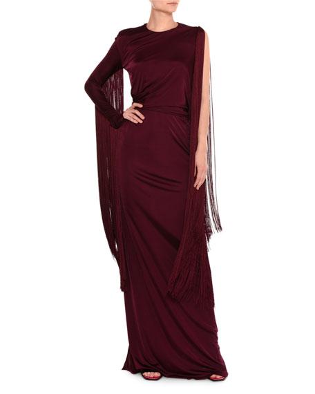 One-Sleeve Fringe Column Gown