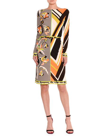 Marilyn Belted Retro Floral-Print Dress