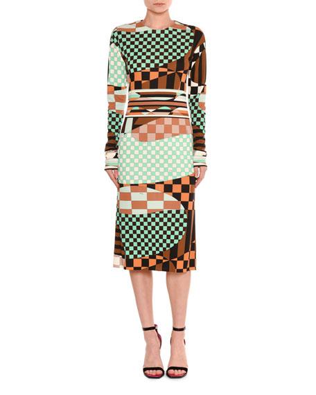 Marillyn Retro Geometric Optical-Print Midi Dress