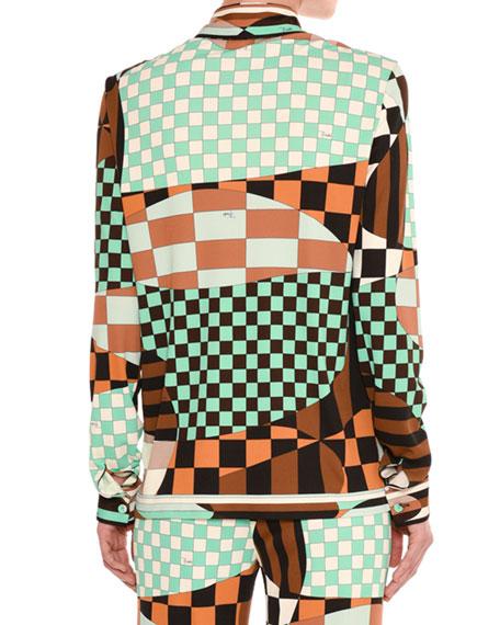 Retro Geometric Optical-Print Shirt