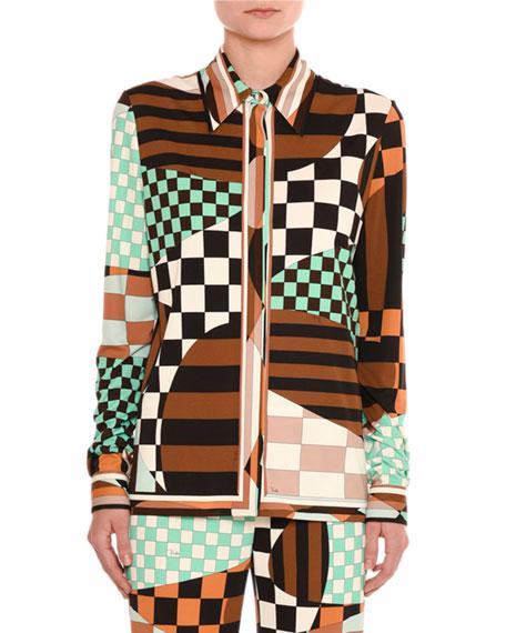 Emilio Pucci Retro Geometric Optical-Print Shirt