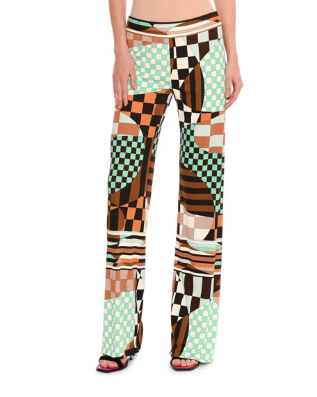 Emilio Pucci Retro Geometric Optical-Print Palazzo Pants
