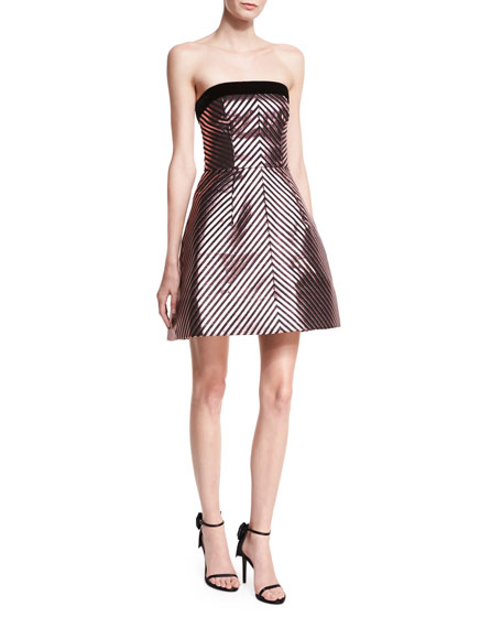 Monique Lhuillier Lurex?? Chevron Jacquard Strapless Cocktail