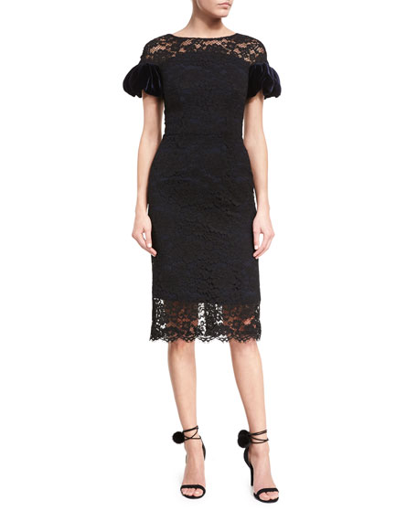 Monique Lhuillier Corded Lace Puff-Sleeve Cocktail Dress