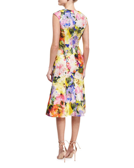 Watercolor Garden Jacquard Flounce Dress