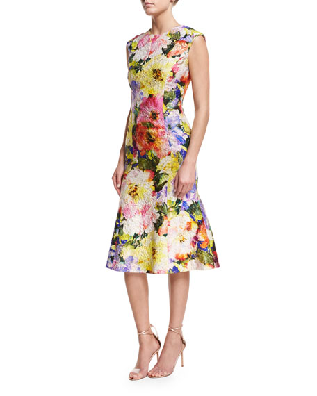 Monique Lhuillier Watercolor Garden Jacquard Flounce Dress