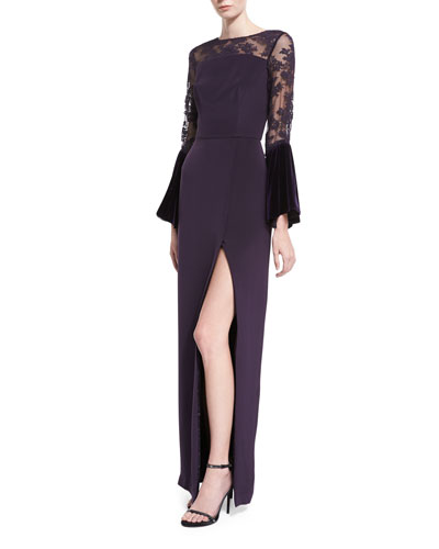 Crepe Lace-Yoke Gown with Velvet Bell Sleeves