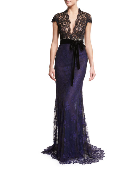 Monique Lhuillier Belted Lace Column Gown