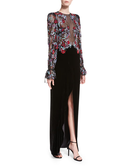 Velvet Tie-Cuff Gown with Beaded Bodice