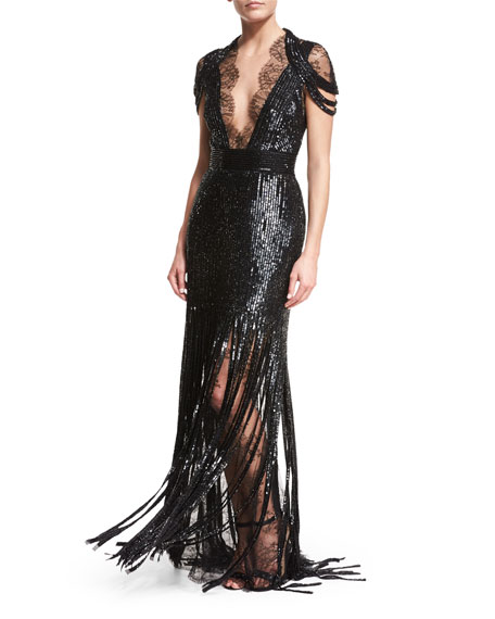 Monique Lhuillier Beaded Lace Cold-Shoulder Fringe Gown