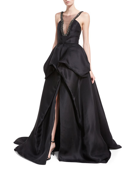 Monique Lhuillier Embellished Satin Ball Gown