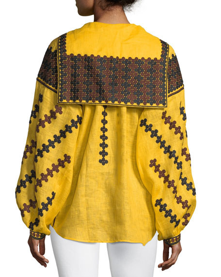 Riverbank Embroidered Linen Tie-Neck Peasant Blouse