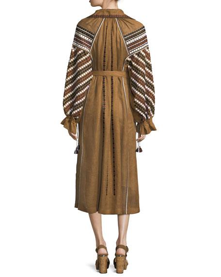 Embroidered Linen Poet-Sleeve Midi Dress