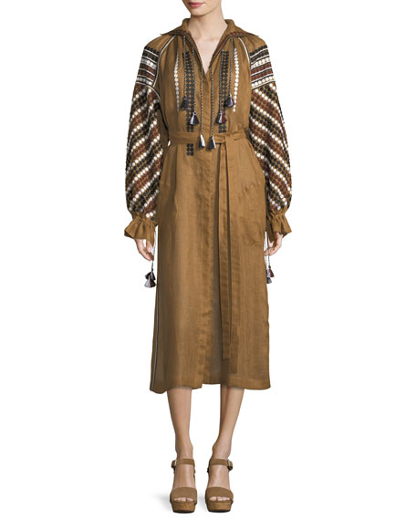 Vita Kin Embroidered Linen Poet-Sleeve Midi Dress
