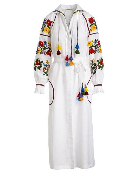 Floral-Embroidered Linen Poet-Sleeve Midi Dress