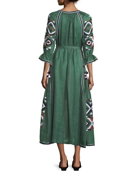 Fatima's Eye Diamond-Embroidered Belted Linen Dress
