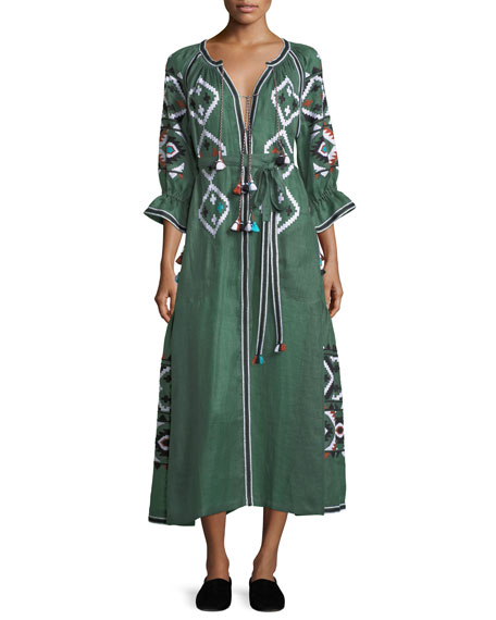 Vita Kin Fatima's Eye Diamond-Embroidered Belted Linen Dress