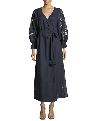Holly Floral-Lace Belted Linen Wrap Dress