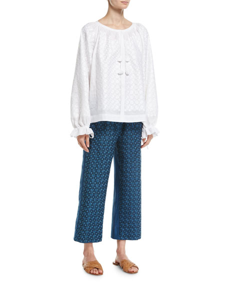 Strawberry Field Embroidered Linen Pants