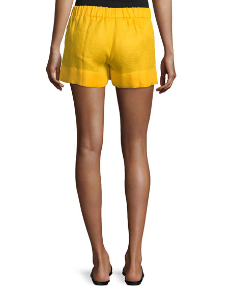 Riverbank Embroidered Linen Shorts