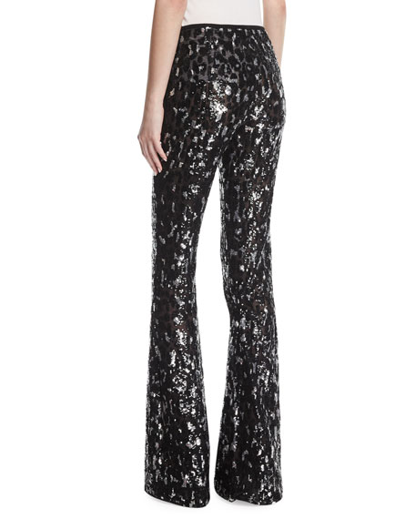 Sequined Leopard Tulle Flare-Leg Pants