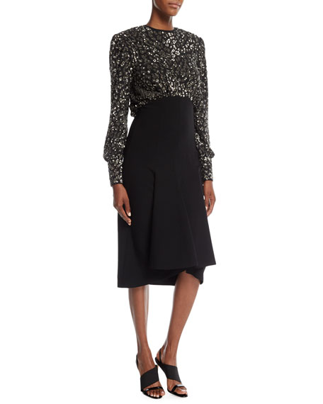 Michael Kors Collection Sequined Leopard-Bodice Pebble Crepe