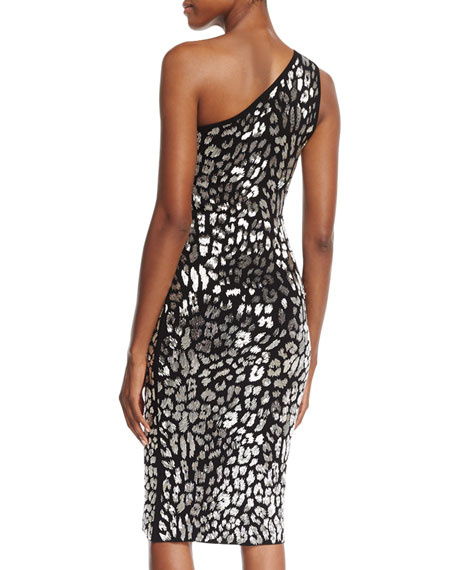 Metallic Leopard-Embroidered One-Shoulder Dress