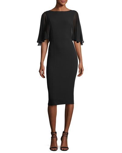 Chiffon-Sleeve Virgin Wool Crepe Sheath Dress