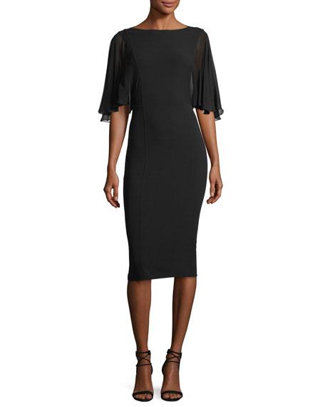 Chiffon-Sleeve Virgin Wool Crepe Sheath Dress