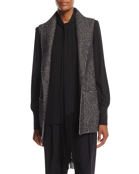 Dogtooth Wool Melton Vest with Fox Fur Shawl