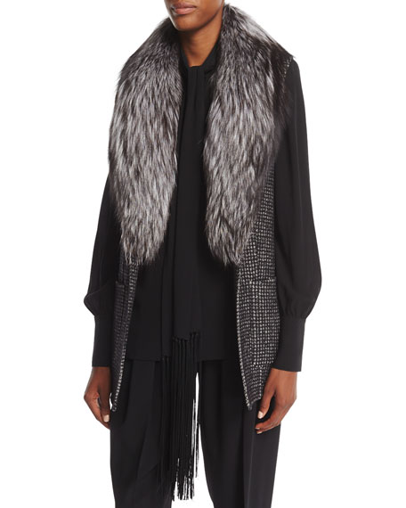 Michael Kors Collection Dogtooth Wool Melton Vest with