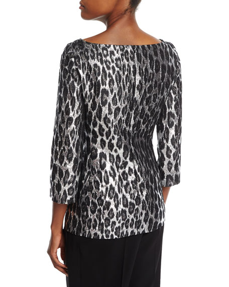 Metallic Leopard Brocade Boat-Neck Top