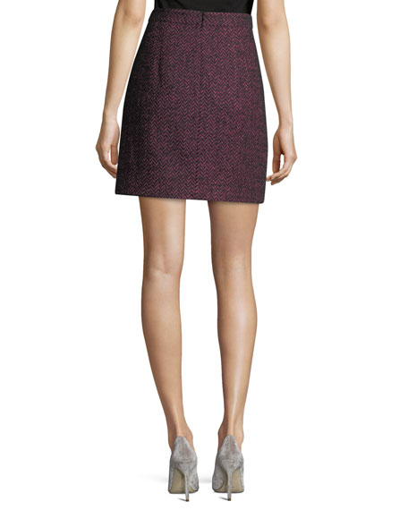 Herringbone Tweed A-Line Miniskirt
