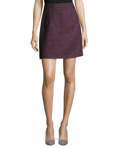 Michael Kors Collection Herringbone Tweed A-Line Miniskirt