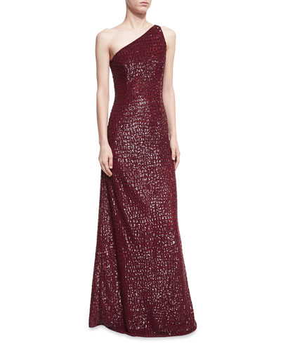 Crocodile Paillette One-Shoulder Gown