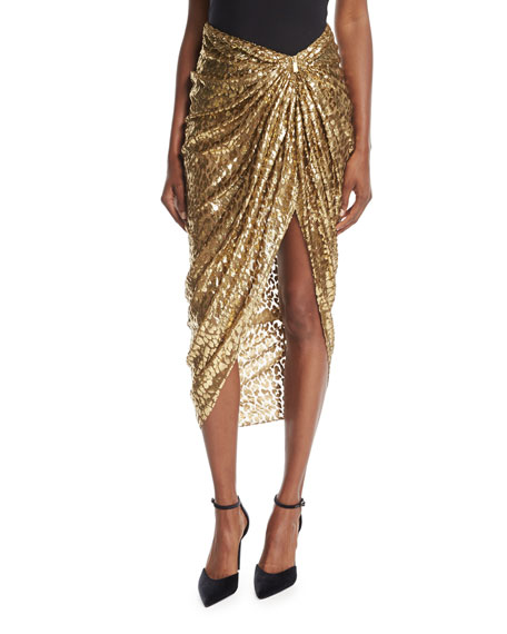 Michael Kors Collection Metallic Cheetah Fil Coupe Sarong