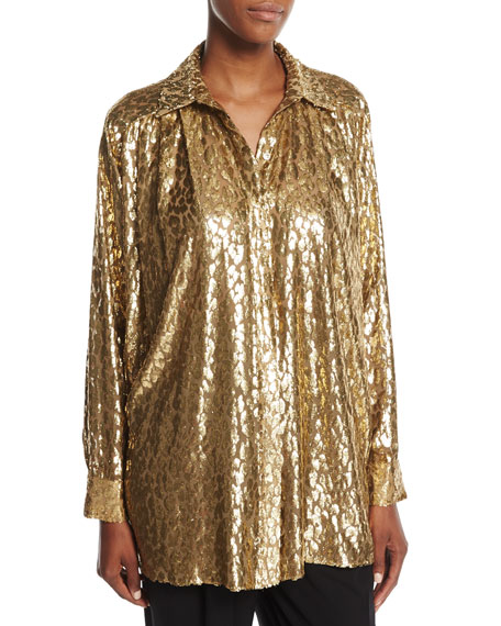 Michael Kors Collection Metallic Cheetah Fil Coupe Shirt