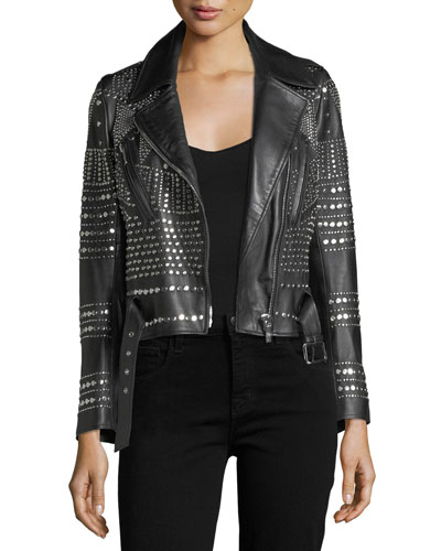 Elysee Studded Leather Moto Jacket