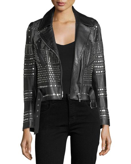 Nour Hammour Elysee Studded Leather Moto Jacket