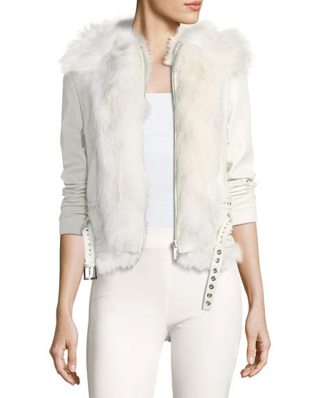 Mazarine Belted Leather Jacket with Fox Fur Trim